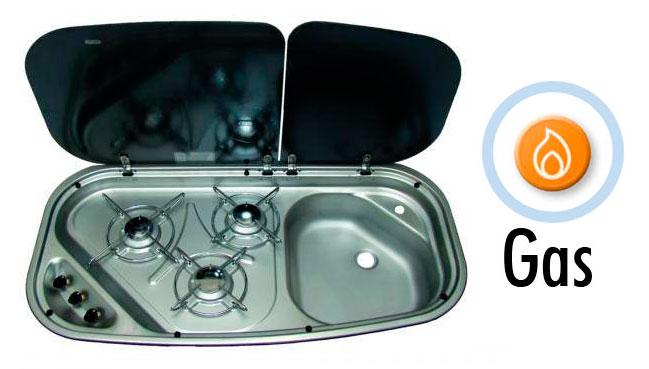 Cocina fregadero 3 quemadores con tapa de vidrio hi 21 dometic tiempo libre caravanas - Tapa fregadero ...