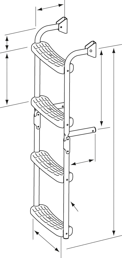 escalera inox plegable con angulo de 90 grados plastimo