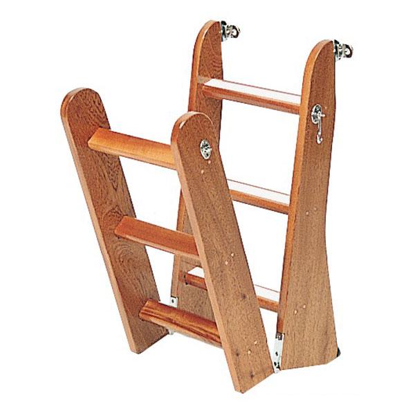 Escalera plegable madera 4 o 6 pelda os fondeo y amarre - Peldanos escalera madera ...