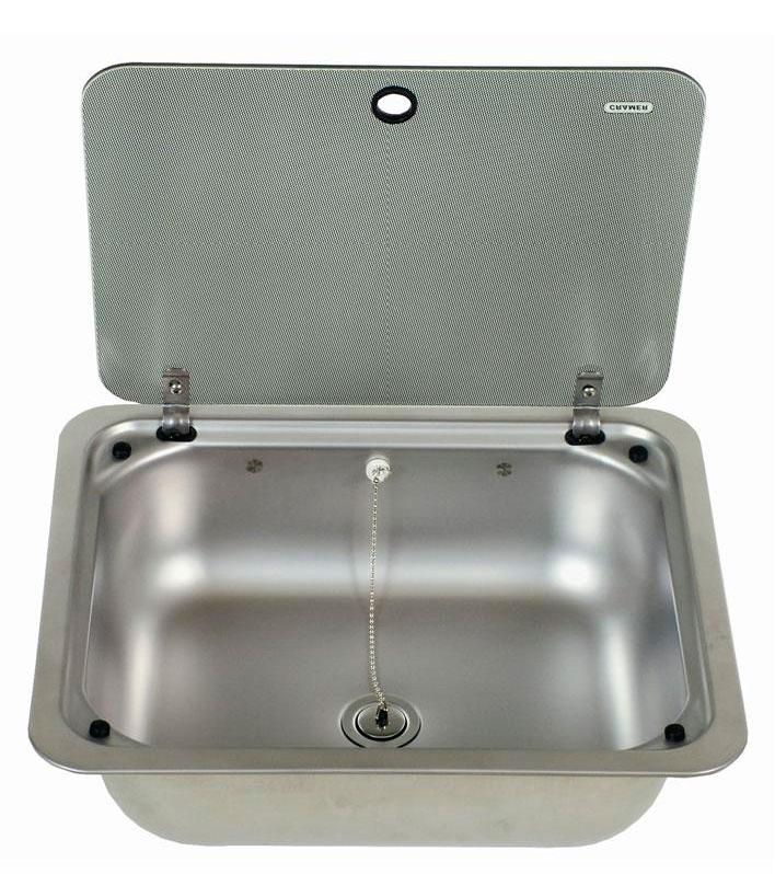 Fregadero cuadrado con tapa de vidrio ce99 b410l i g dometic agua a bordo fregaderos y - Tapa fregadero ...