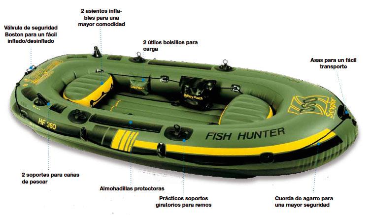 Sevylor fish hunter hf360 boat 4 people nautical sports for Sevylor fish hunter 360