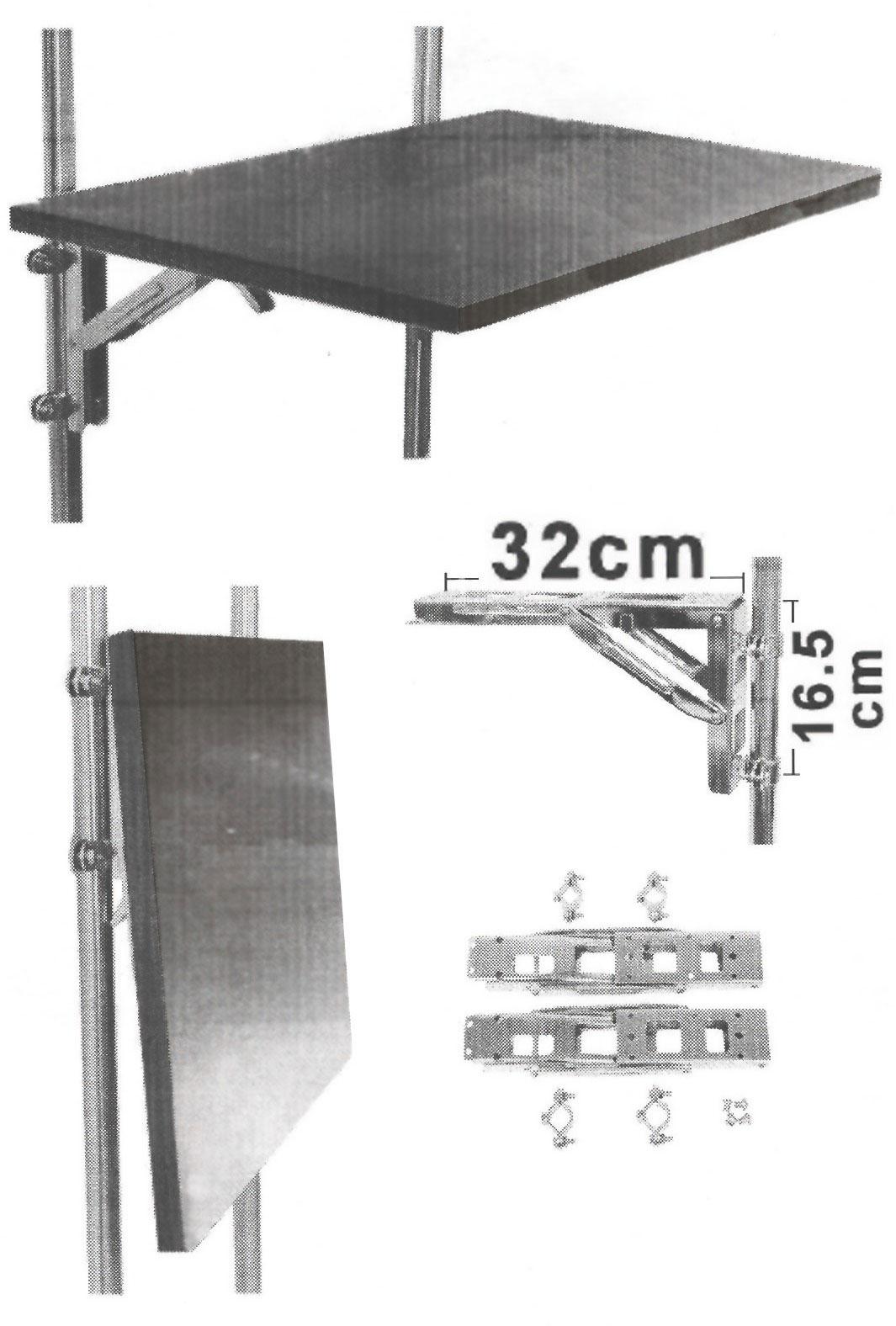 Soporte plegable acero inoxidable para asientos o mesas for Mesa plegable con asientos