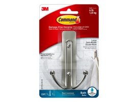 3M Command Bath Large Satin Nickel Double Hook