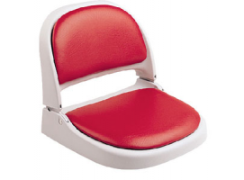 Attwood Folding Loght Gray Seat with Red Cushion
