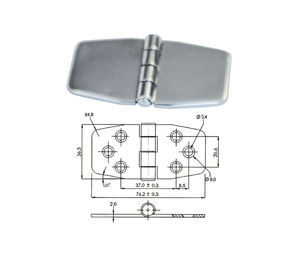 COVERED STAINLESS STEEL HINGE 70x40mm