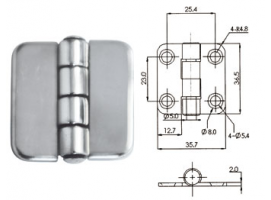 COVERED STAINLESS STEEL HINGE  36 x 37mm