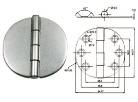 COVERED STAINLESS STEEL HINGE  65X65
