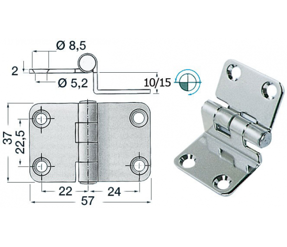 57 x 37 mm Overhang Stainless Steel Hinge