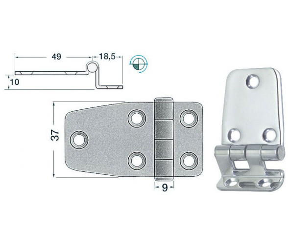 67.5 x 37 mm Overhang Stainless Steel Hinge