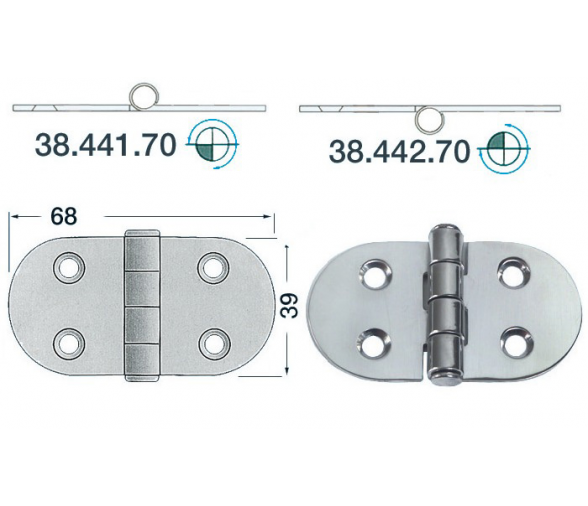 2 mm Thickness 68 x 39 mm Stainless Steel Hinge