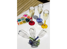 CHAMPAGNE GLASS COLOURS BASE PARTY 6 units MARINE BUSINESS