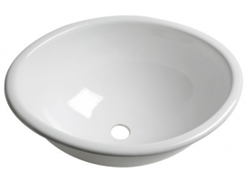 Oval sink made white polished plexiglas