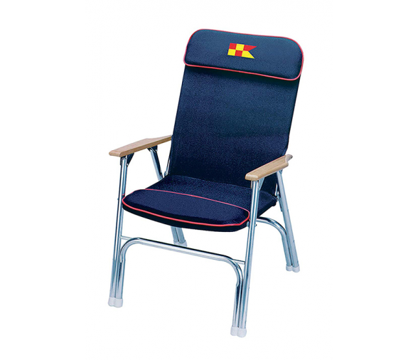 Garelick Navy Blue Padded Folding Deck Chair