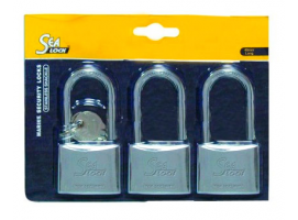 Set of 3 Padlocks Sea Lock Long Shackle 30mm with Joint Key