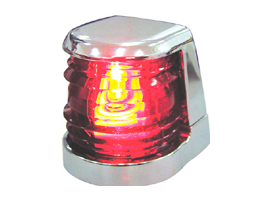 Red Portboard Navigation Light, Chrome