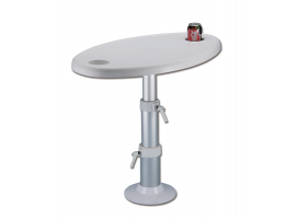 Table with adjustable support and glass holder