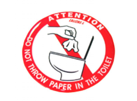 Silicone Sticker Do Not Throw Paper in the Toilet