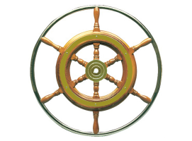 Rudder Wheel Wood Cone Noble Brass external ring