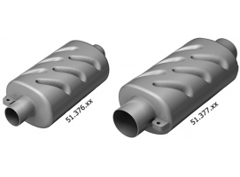 Horizontal silencer for water cooled engine