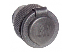 Socket Female 12 V Black Round Flange