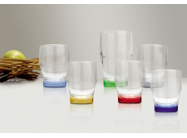 STACKABLE BEVERAGE GLASS COLOURS BASE PARTY 6 units MARINE BUSINESS