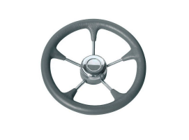 Steering Wheel 280 mm Grey Soft Polyurethane with S. Steel Spokes