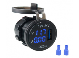 USB Car Charger with Digital Voltimeter and Current Display