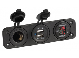 Voltmeter and Amperimeter with Power Outlet and Dual USB for Recess Mounting